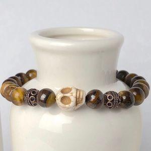 MENS | Tiger Eye Skull Gemstone Beaded Bracelet